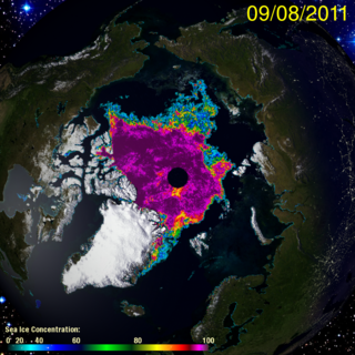Satellite picture of arctic ice